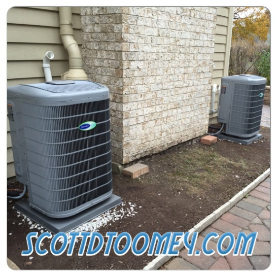 Along with the 2 furnaces, we installed 2 Carrier 19 SEER Variable Speed A/C Units